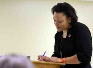 City Councilwoman LaToya Cantrell takes notes during a meeting of the Bouligny Improvement Association in 2013. (UptownMessenger.com  file photo by Robert Morris)