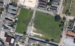 An aerial view of the lot (via Google maps)