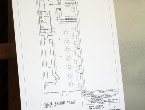 The floor plans for the new restaurant by architect Stephen Finegan. (Robert Morris, UptownMessenger.com)