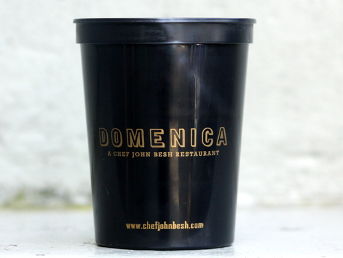 A plastic go-cup from Domenica restaurant. (UptownMessenger.com)