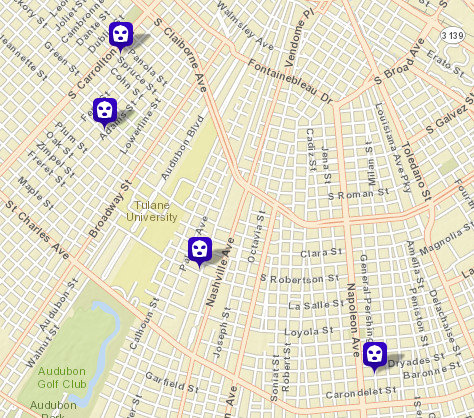 Recent robberies on Spruce, Jeanette, State and General Pershing streets. (map via NOPD)
