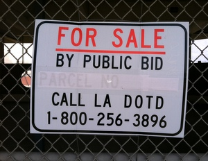 """The """"for sale"""" sign on the ferry landing. (photo by Jean-Paul Villere for UptownMessenger.com)"""