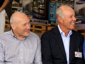 Costco CEO Craig Jelinek and company cofounder Jeff Brotman smile during the ceremony. (Robert Morris, UptownMessenger.com)