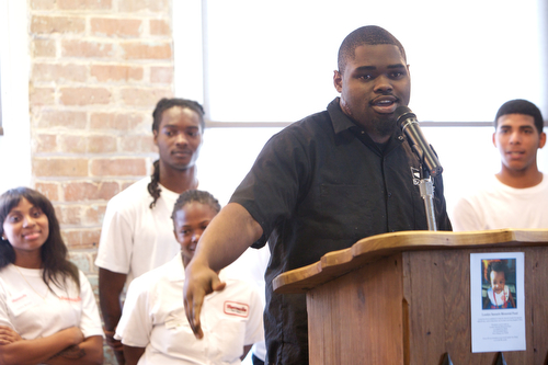 """""""I was looking for a job and I found a career,"""" said Chris Okorie, a Cafe Reconcile graduate who know is a chef at Borgne Restaurant. (Sabree Hill, UptownMessenger.com)"""