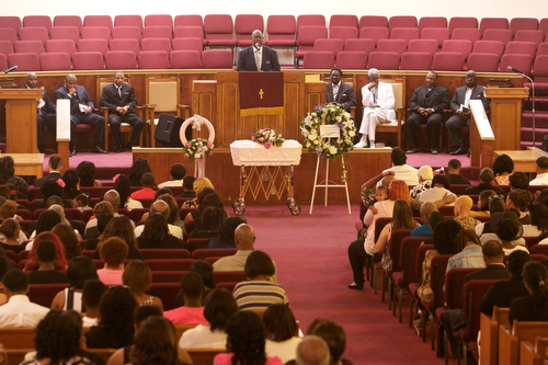 The funeral of 1 year-old  Londyn Samuels at New Hope Baptist Church Saturday morning.  (Sabree Hill, UptownMessenger.com)