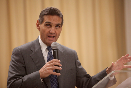 District Attorney Leon Cannizzaro answers a question about the witness protection program. (Sabree Hill, UptownMessenger.com)