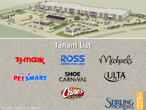 A rendering and tenant list of the Magnolia Marketplace shopping complex planned for South Claiborne Avenue. (via City of New Orleans)