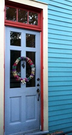 The Villere door in the holiday spirit.
