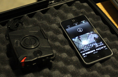 The body camera transmits video to a cell phone in the NOPD Special Operations Division headquarters.