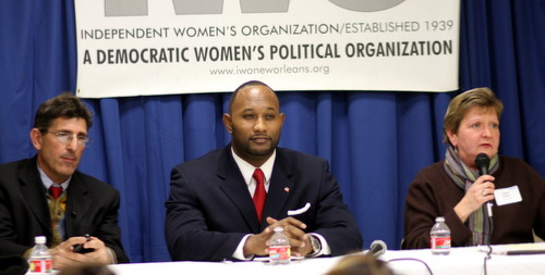 David Capasso, Jason Coleman and Susan Guidry appear before the Independent Women's Organization on Monday. (Robert Morris, UptownMessenger.com)