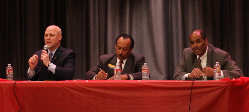 Mayor Mitch Landrieu, Judge Michael Bagneris and NAACP President Danatus King at the Holy Name of Jesus School. (Robert Morris, UptownMessenger.com)