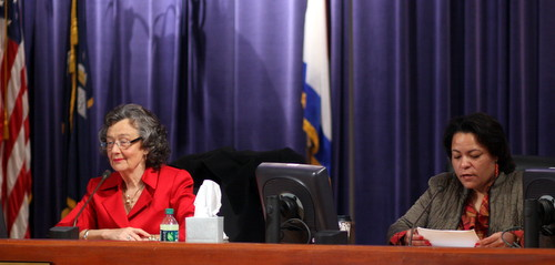 City Council members Jackie Clarkson (left) and LaToya Cantrell present proposed changes to the city's Mardi Gras ordinances on Tuesday morning. (Robert Morris, UptownMessenger.com)