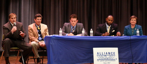 Drew Ward (from left), David Capasso, Stephen Gordon, Jason Coleman and Susan Guidry speak at the Alliance for Good Government candidates forum Wednesday evening. (Robert Morris, UptownMessenger.com)