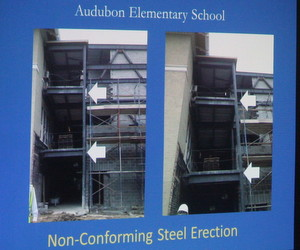 The floors in the stair towers are not parallel because the steel beams supporting them lean, according to a slide shown by school officials Saturday. (UptownMessenger.com)