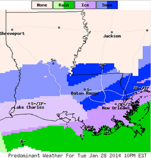 Precipitation forecasts for South Louisiana for 10 p.m. Tuesday (via weather.gov at 12 p.m. Tuesday)