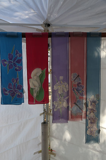 Hand-painted silk scarves by Kathleen Olson Grumich.