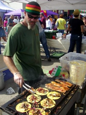 Woody Ruiz serves fish tacos from his stand at the Freret Market in 2011. (via Facebook)