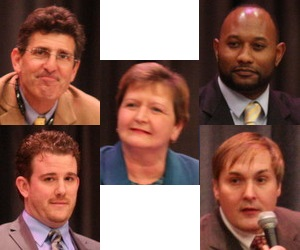 Incumbent City Councilwoman Susan Guidry (center) is facing challenges from (clockwise from top left) David Capasso, Jason Coleman, Stephen Gordon and Drew Ward. (photos by UptownMessenger.com)