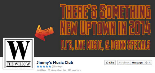 "The new header for ""The Willow"" on the Jimmy's Music Club page on Facebook. (via facebook.com)"