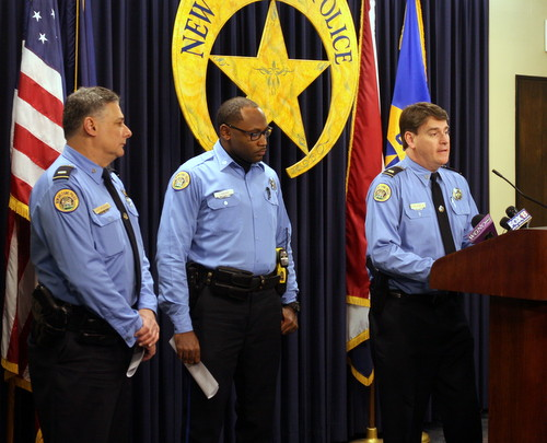 Lt. Anthony Monaco, Officer Justin Brown and Lt. Frank Young speak at a news conference Thursday afternoon at NOPD headquarters. (Robert Morris, UptownMessenger.com)