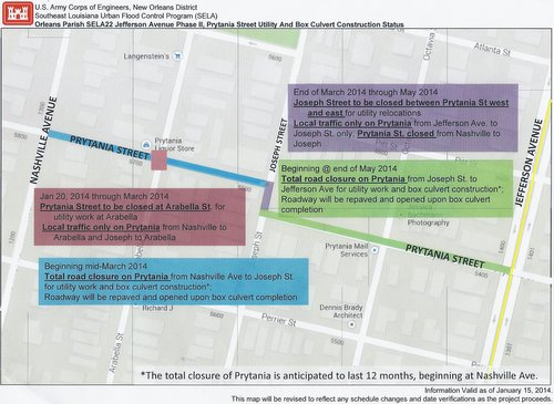 Map of scheduled closures on Prytania Street (via U.S. Army Corps of Engineers)