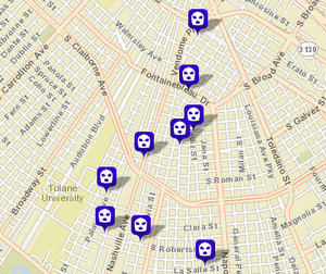 Eight armed robberies and one unarmed robberies reported around Broadmoor and the university area since Wednesday. (map via NOPD)