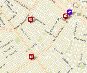 Three incidents were reported on the Uptown parade route over the weekend -- two simple battery cases, and one gun arrest. (via NOPD crime mapping)