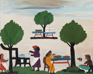 Oil on board folk art rendering by Clementine Hunter (1887-1988) titled The Watermelon Picnic.