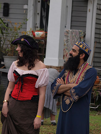 Parade goers sport costumes long before Mardi Gras day. Krewe of King Arthur 2014. (Zach Brien, UptownMessenger.com)