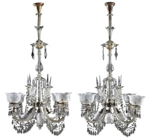 Rare pair of cut crystal gasoliers from around 1900, possibly Baccarat, electrified, 59 inches tall.