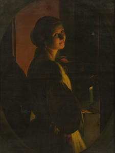 Oil on canvas by Petrus Van Schendel (Belg., 1806-1870), titled Young Woman by Candlelight.