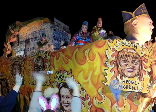 "The Chaos ""7 Deadly Sins"" float took aim at the New Orleans City Council. (Robert Morris, UptownMessenger.com)"