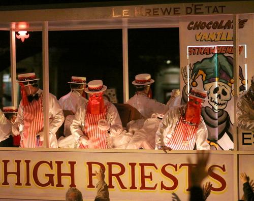 The Krewe d'Etat High Priests. (Robert Morris, UptownMessenger.com)