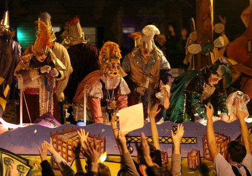 "Riders on the Krewe d'Etat ""Ladies Night"" float. (Robert Morris, UptownMessenger.com)"