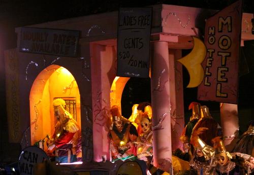 "The Krewe d'Etat ""Ladies Night"" float mocks the prostitution around Tulane Avenue motels. (Robert Morris, UptownMessenger.com)"