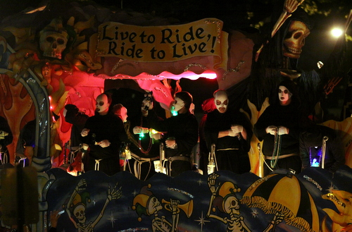 "The Krewe d'Etat motto is  ""Live to Ride; Ride to Live."" (Robert Morris, UptownMessenger.com)"
