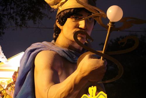 """The Hermes """"Messenger of the Gods"""" float . (Robert Morris, UptownMessenger.com)"""