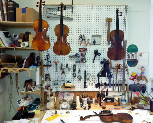 The busy interior at Keller Strings (photo by Jean-Paul Villere for UptownMessenger.com)