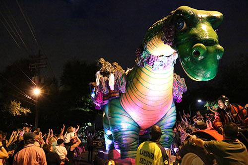 The signature Bacchasaurus  float. (Zach Brien, UptownMessenger.com)