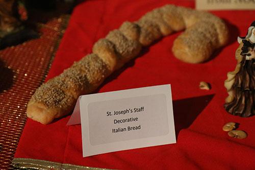 Saint Joseph's Staff Decorative Italian Bread donation by NOCCA students at St. Stephen's Saint Joseph's altar. (Zach Brien, UptownMessenger.com)