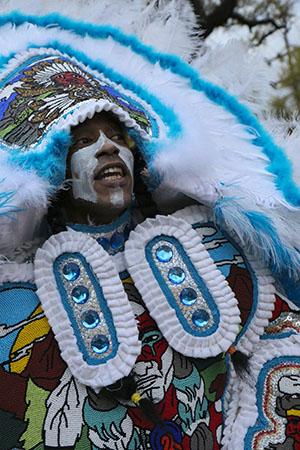 Golden Blades Mardi Gras Indians on St. Joseph's Night. (Zach Brien, UptownMessenger.com)