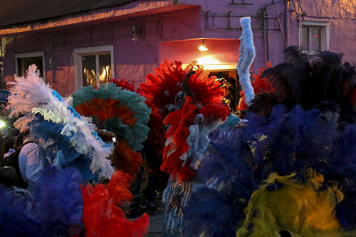 Golden Blades Mardi Gras Indians at the corner of Washington ave. and S. Saratoga on St. Joseph's Night. (Zach Brien, UptownMessenger.com)