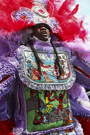 Wild Mohicans Mardi Gras Indians on Super Sunday 2014. (Zach Brien, UptownMessenger.com)