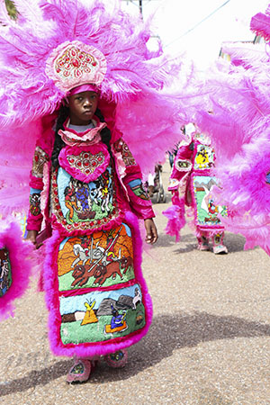Cheyenne Mardi Gras Indians on Super Sunday 2014. (Zach Brien, UptownMessenger.com)