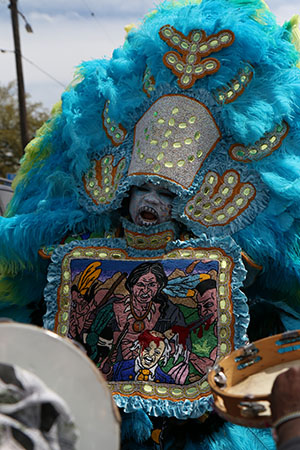Big chief of the Hard Head Hunters Mardi Gras Indians on Super Sunday 2014. (Zach Brien, UptownMessenger.com)