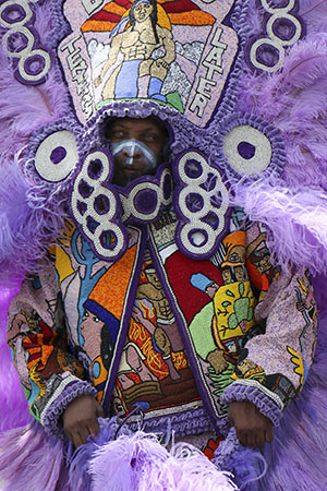 Hard Head Hunters Mardi Gras Indians on Super Sunday 2014. (Zach Brien, UptownMessenger.com)
