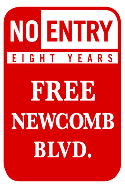 "The ""Free Newcomb Boulevard"" group is printing yard signs in hopes of spreading the word before an April 8 hearing before the City Planning Commission. (image via ""Free Newcomb Blvd."")"