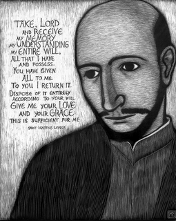 A drawing of Ignatius of Loyola during Spiritual Exercise (via loyno.edu)