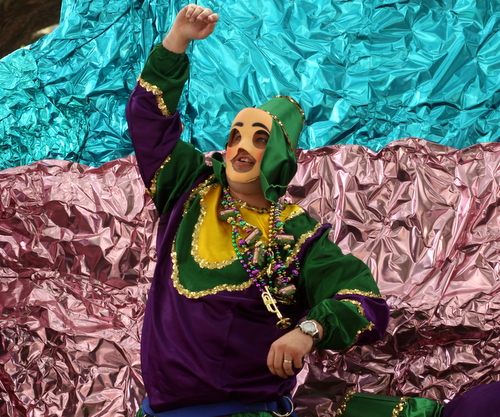 A rider in the Krewe of Mid-City's King's Band of Merry Men. (Robert Morris, UptownMessenger.com)
