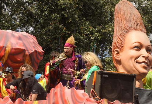 Vince Vance rolls on his float in the Krewe of Okeanos. (Robert Morris, UptownMessenger.com)